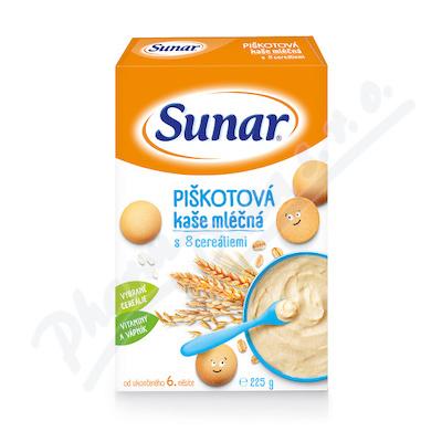 Sunar mléčná piškotová kaše s 8 cereáliemi 225g