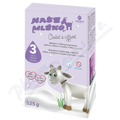 NAŠE MLÉKO 3 batol.výživa z kozího mléka 12m+ 525g