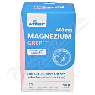 Vitar Magnézium 400mg+vit.B6+vit.C grep sáč.20x2g