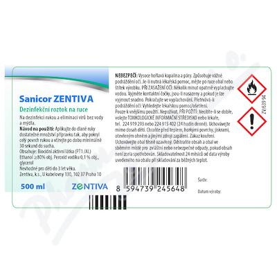Sanicor Zentiva dezinf. roztok na ruce 500ml