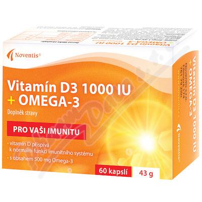 Vitamín D3 1000 IU + Omega-3 cps.60