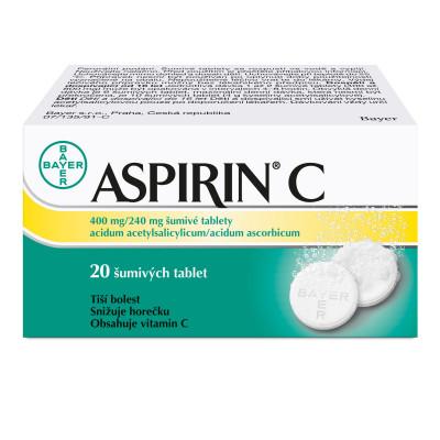 Aspirin C 20 šumivých tablet pro úlevu od příznaků chřipky a nachlazení