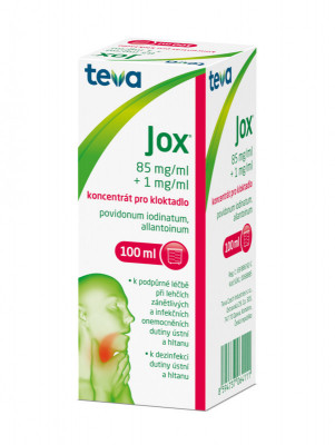 Jox, 85mg/ml+ 1mg/ml, koncentrát pro kloktadlo, 100ml