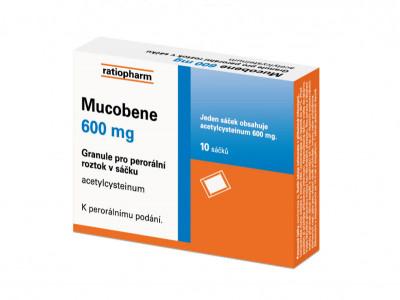 MUCOBENE, 600 mg, 10 ks, granule pro perorální roztok v sáčku