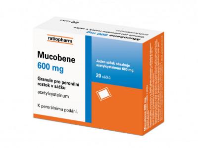 MUCOBENE, 600mg, 20 ks, granule pro perorální roztok v sáčku