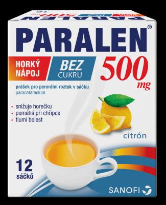 PARALEN horký nápoj bez cukru  500 mg prášek pro perorální roztok v sáčku 12 ks