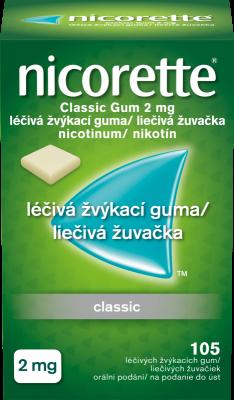 Nicorette® Classic Gum 2 mg léčivá žvýkací guma 105ks pro odvykání kouření