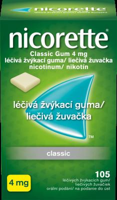 Nicorette® Classic Gum 4 mg léčivá žvýkací guma 105ks pro odvykání kouření
