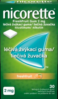 Nicorette® FreshFruit Gum 2 mg léčivá žvýkací guma 30ks pro odvykání kouření