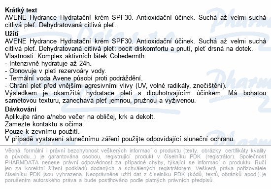 AVENE Hydrance Hydratační krém SPF30 40ml
