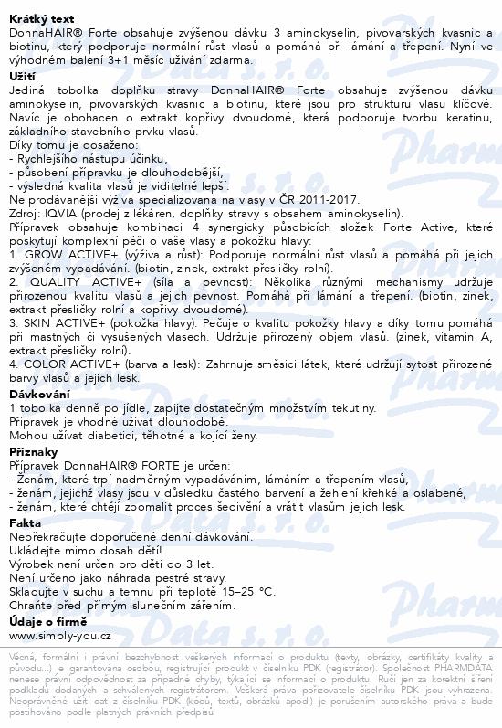 DonnaHAIR FORTE 4měsíční kúra tob.90+30 zdarma