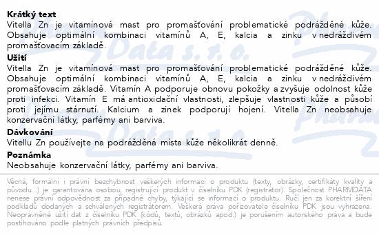 Vitella Zn zinková mast s vitamíny a kalciem 75g
