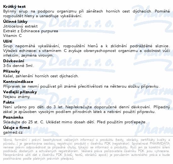 Sirup jitrocelový Galmed s echinaceou a vit.C 310g